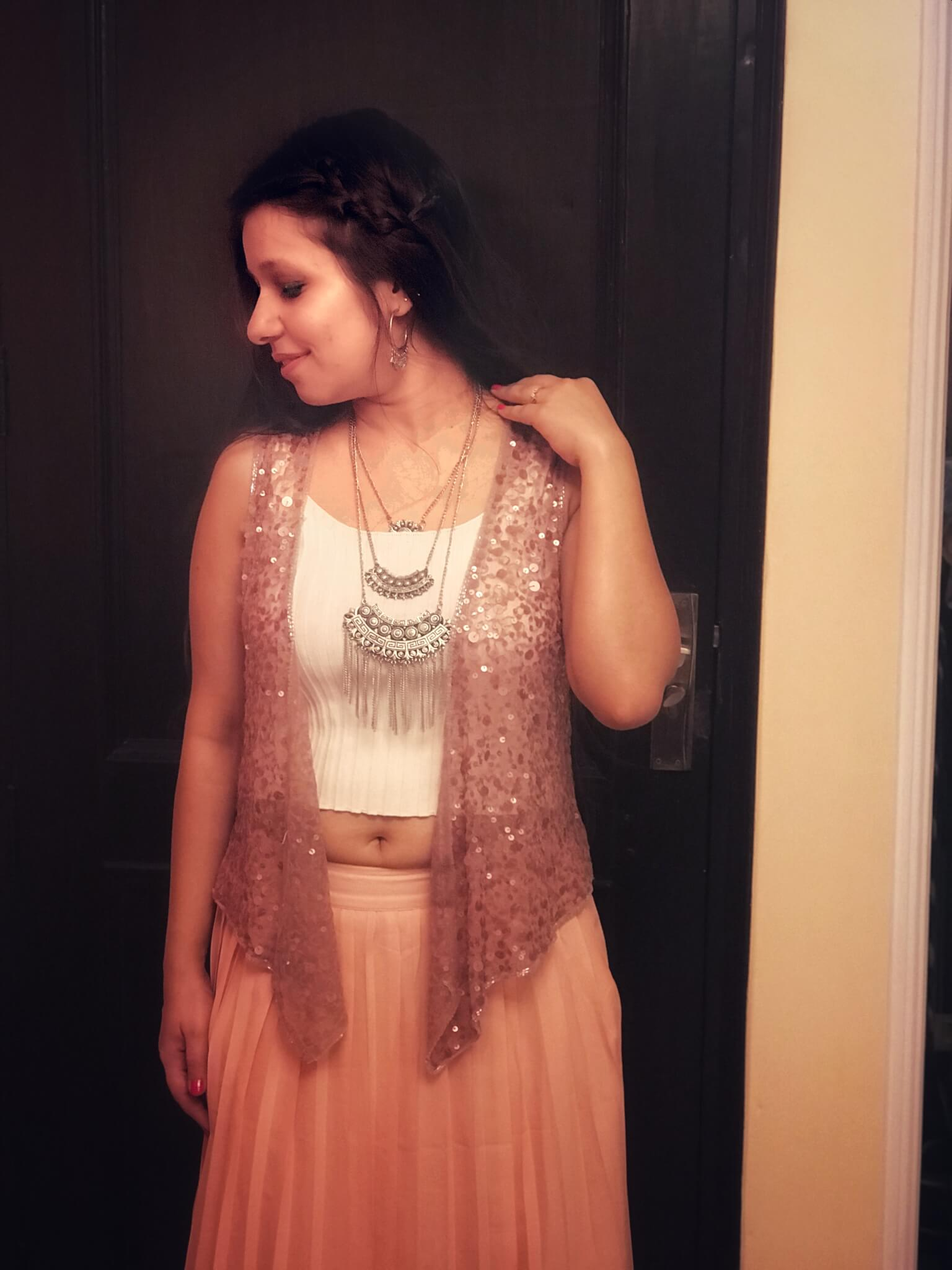 A top and a sequin jacket with a skirt (Indo-western look)