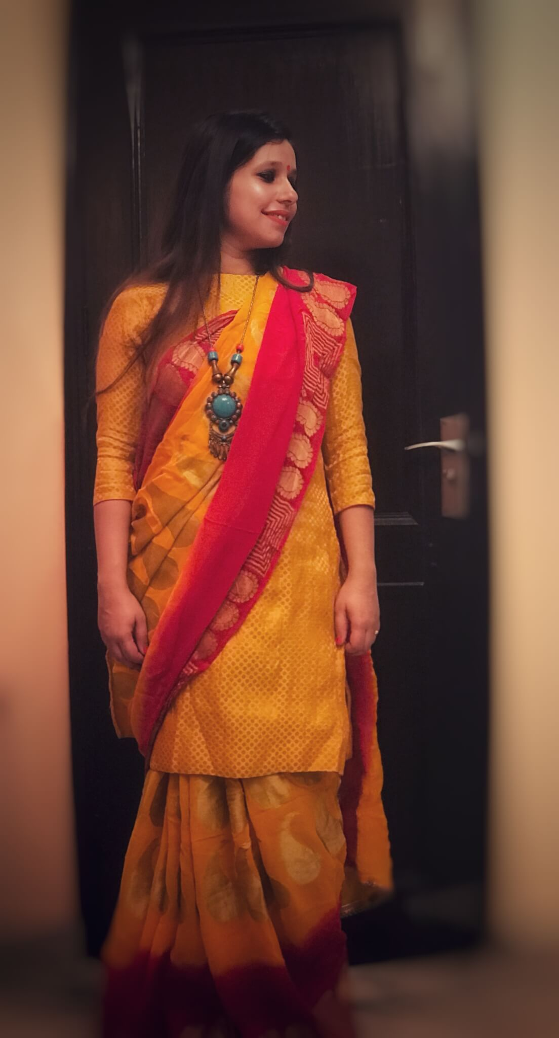 Kurta with a saree (Indo-western look)
