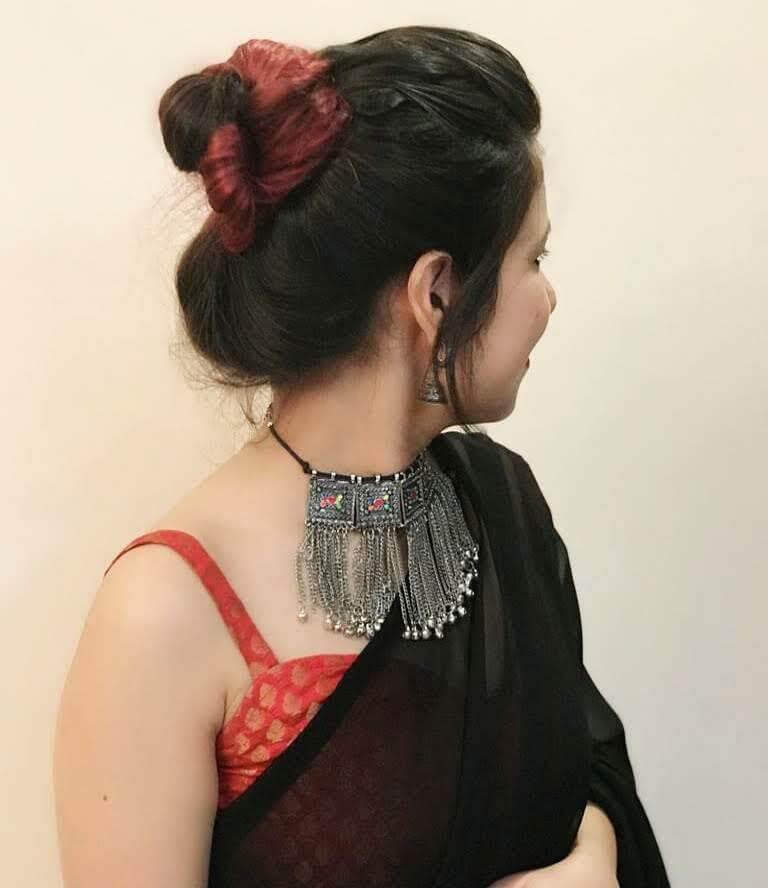 Messy High simple bun hairstyle