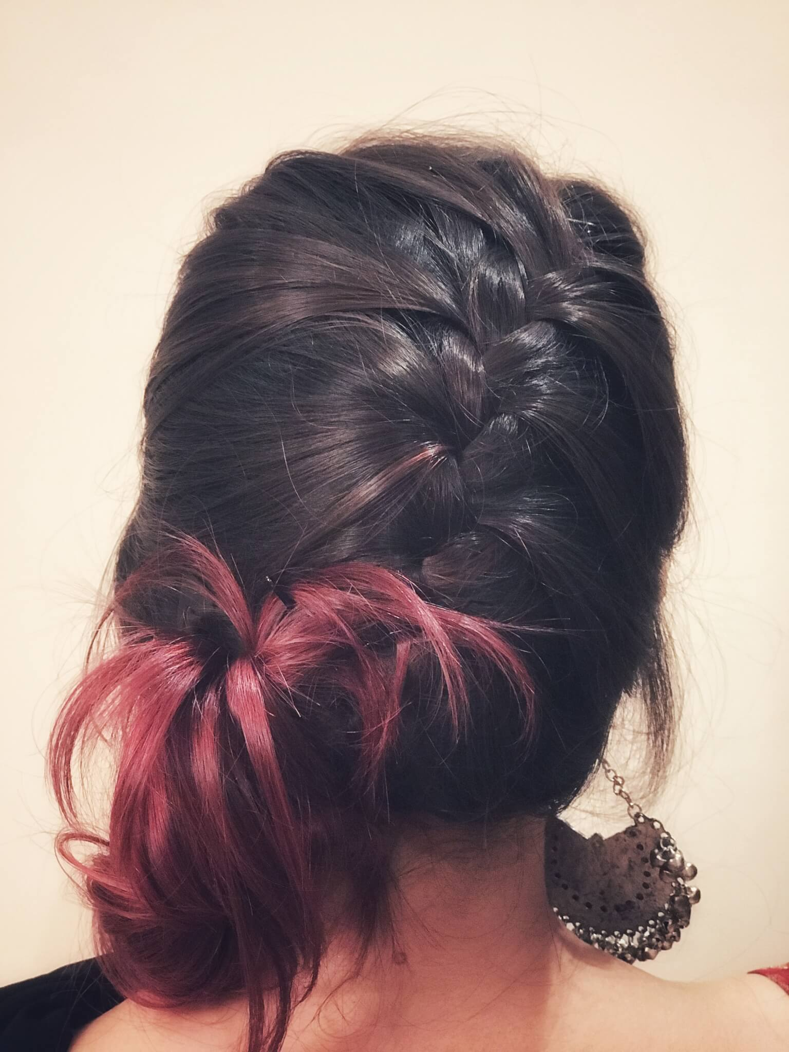 French Braid Side simple bun hairstyle