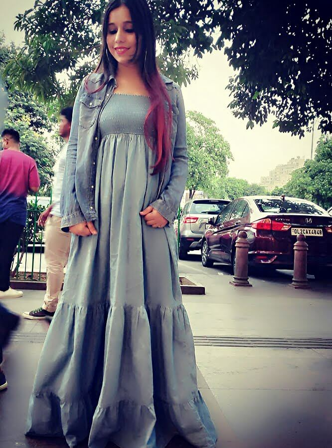 Long flared denim dress