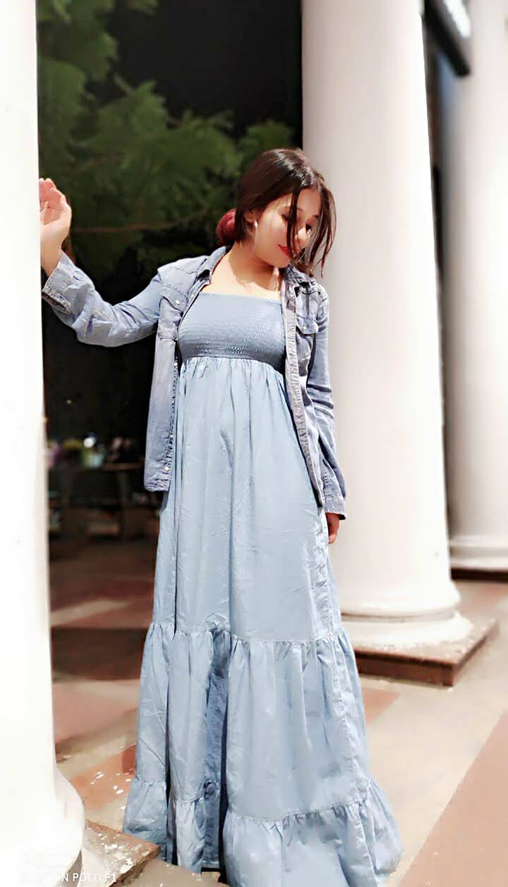 Long flared denim dress with as denim shirt