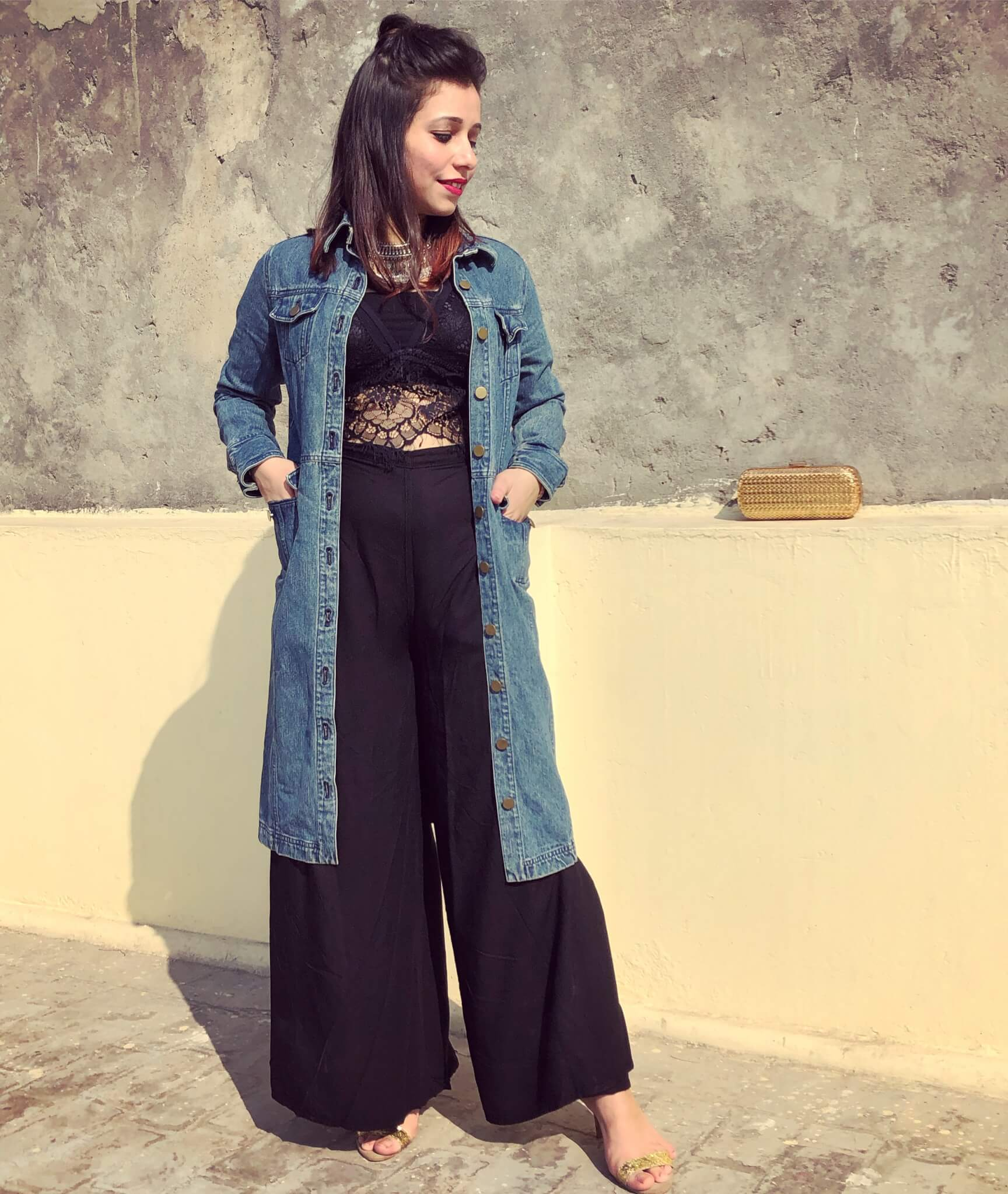 A mesh top with a palazzo and a denim tunic-winter season outfit ideas